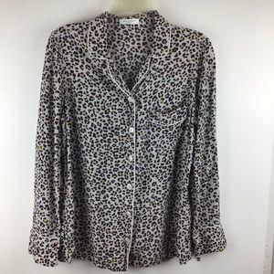 EQUIPMENT Lillian Leopard Print Silk Pajama Top